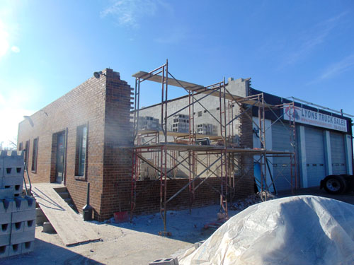 new construction masonry brick exterior walls